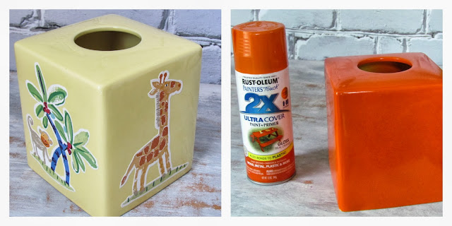 How to spray paint a ceramic tissue box cover