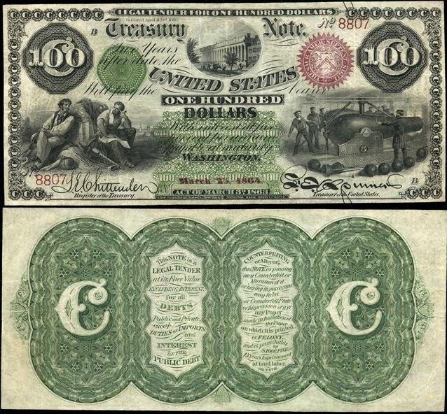 100 долларов США со зданием казначейства, 1863 год (выпущен северянами во время гражданской войны)