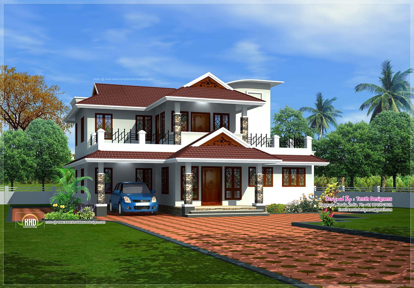 Kerala model 4 bedroom modern house design for Beautiful model house