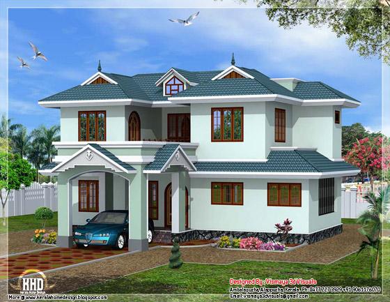 Kerala style villa elevation