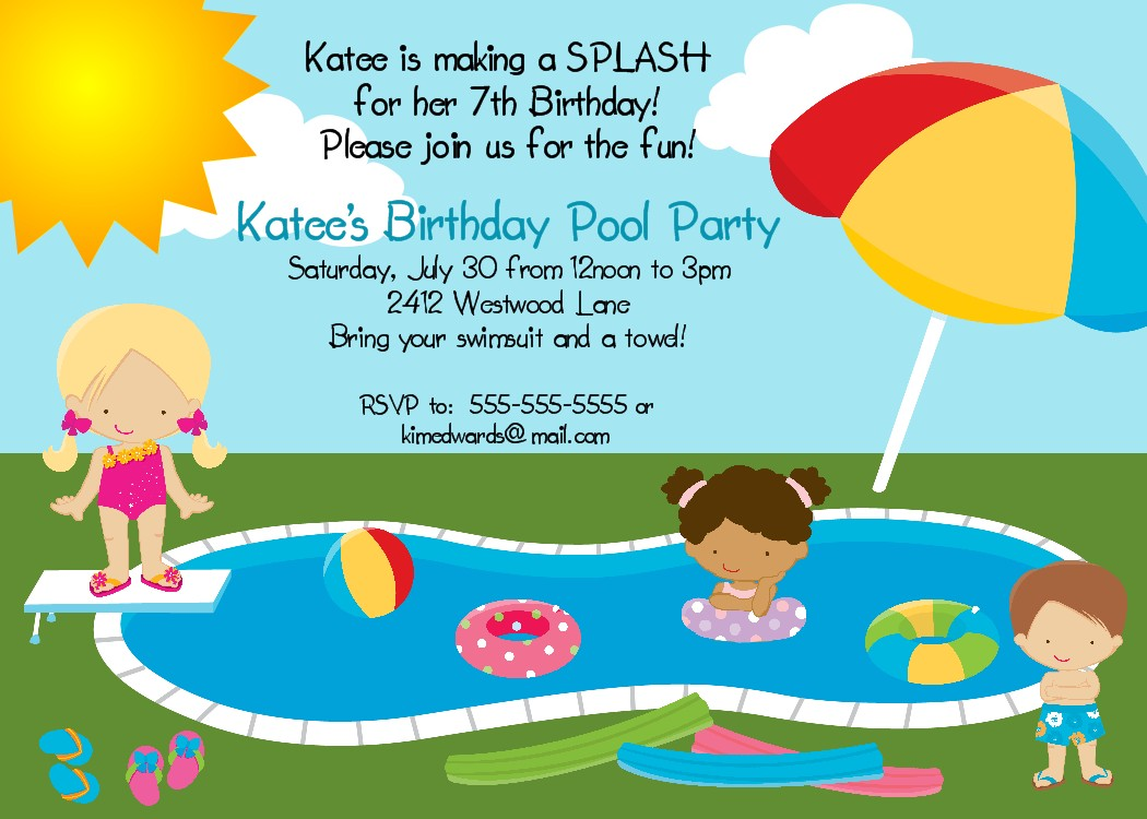 Bear River Photo Greetings: Pool Party Birthday Invitation