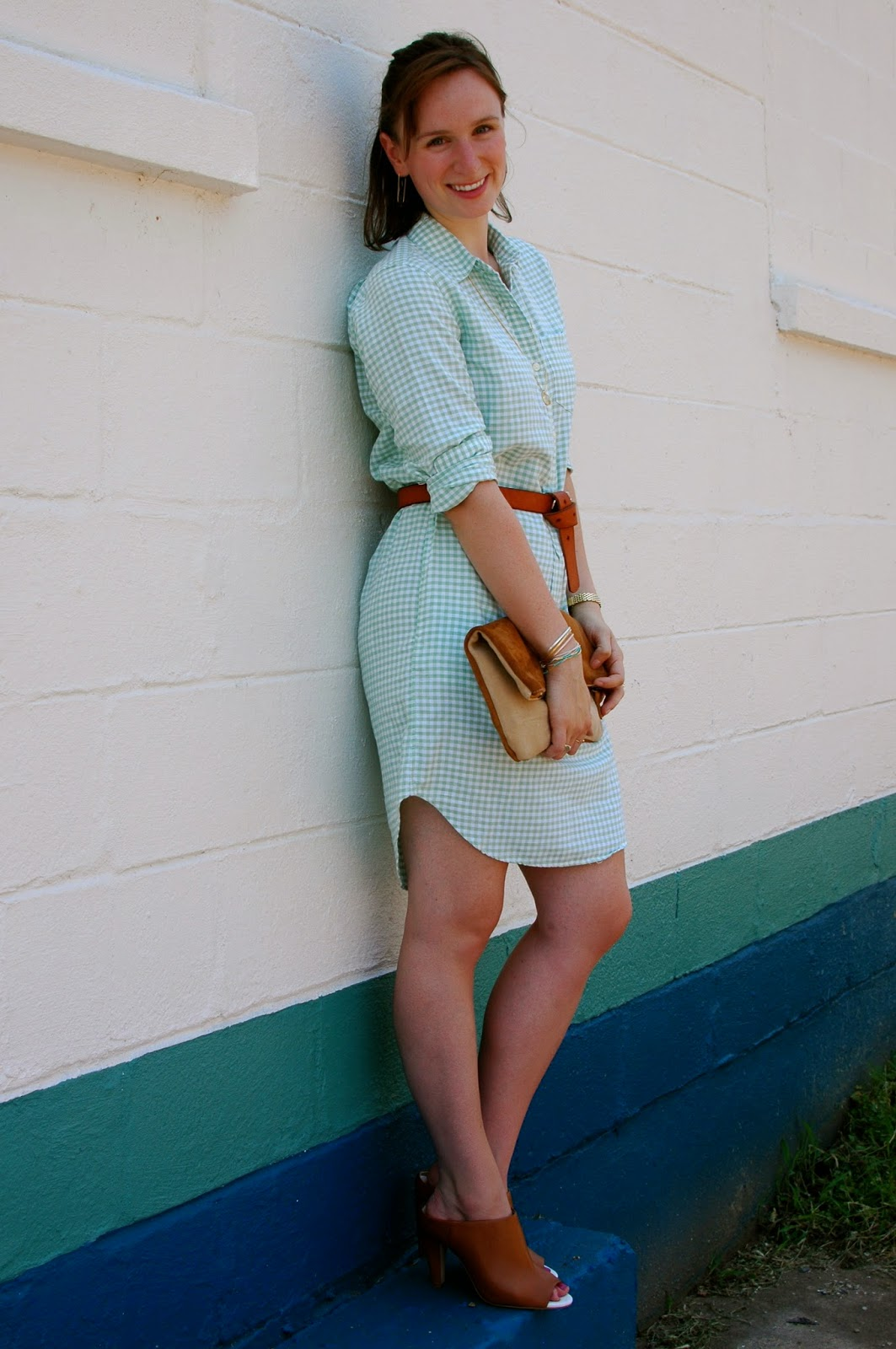mint green dress, brown suede clutch, Ceri Hoover Handbags, French Connection Mules