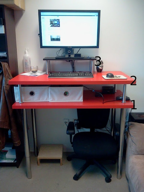 Big red standing desk