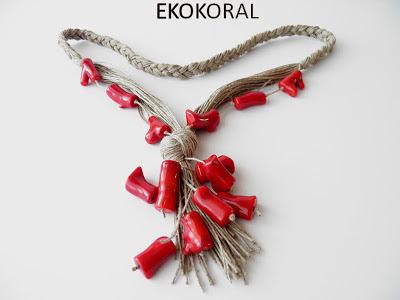 Ekokoral rękodzieło biżuteria z lnu, koral, naszyjnik z korala