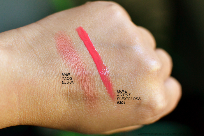 Makeup Swatches - NARS Taos Blush - MUFE Makeupforever Artist Plexigloss 304