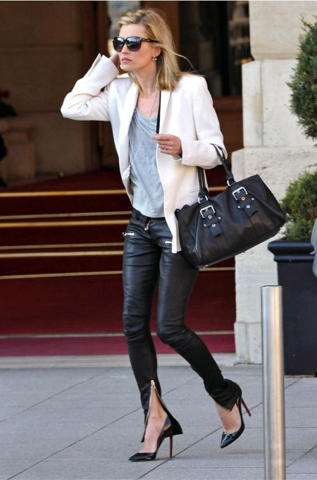 Kate Moss stylish street style with white blazer and leather jeans outfit