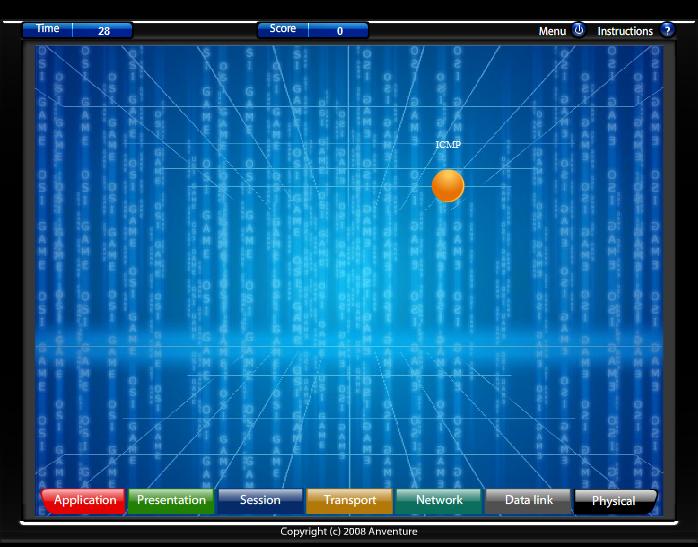 Example window of OSI Model Game