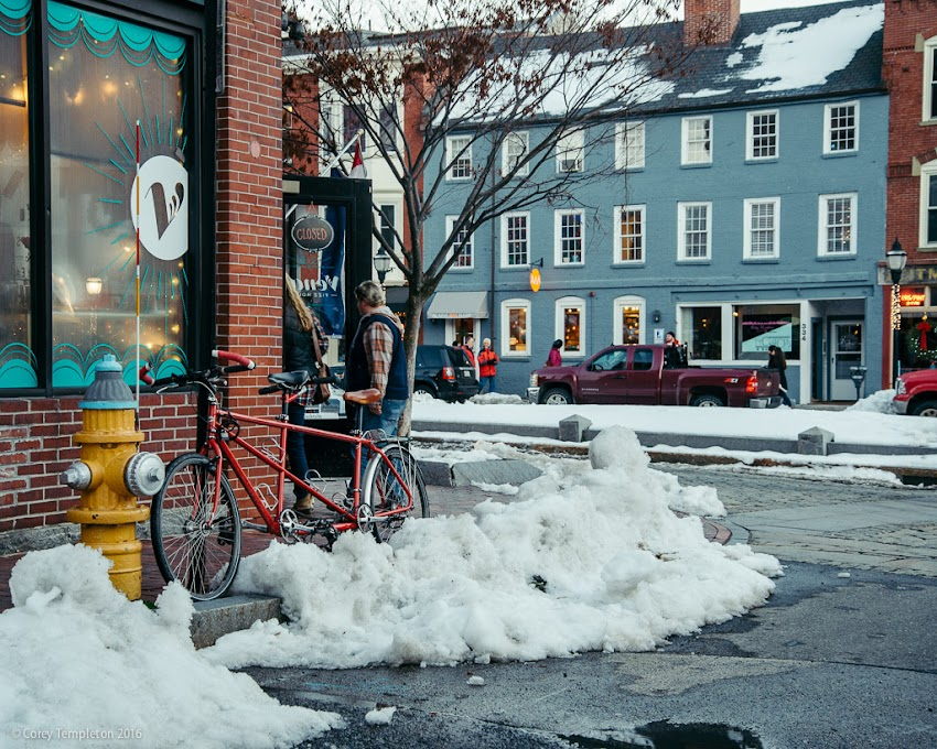 Portland, Maine USA January 2016 photo by Corey Templeton. A tandem bicycle parked in the Old Port, outside of Vena's Fizz House.
