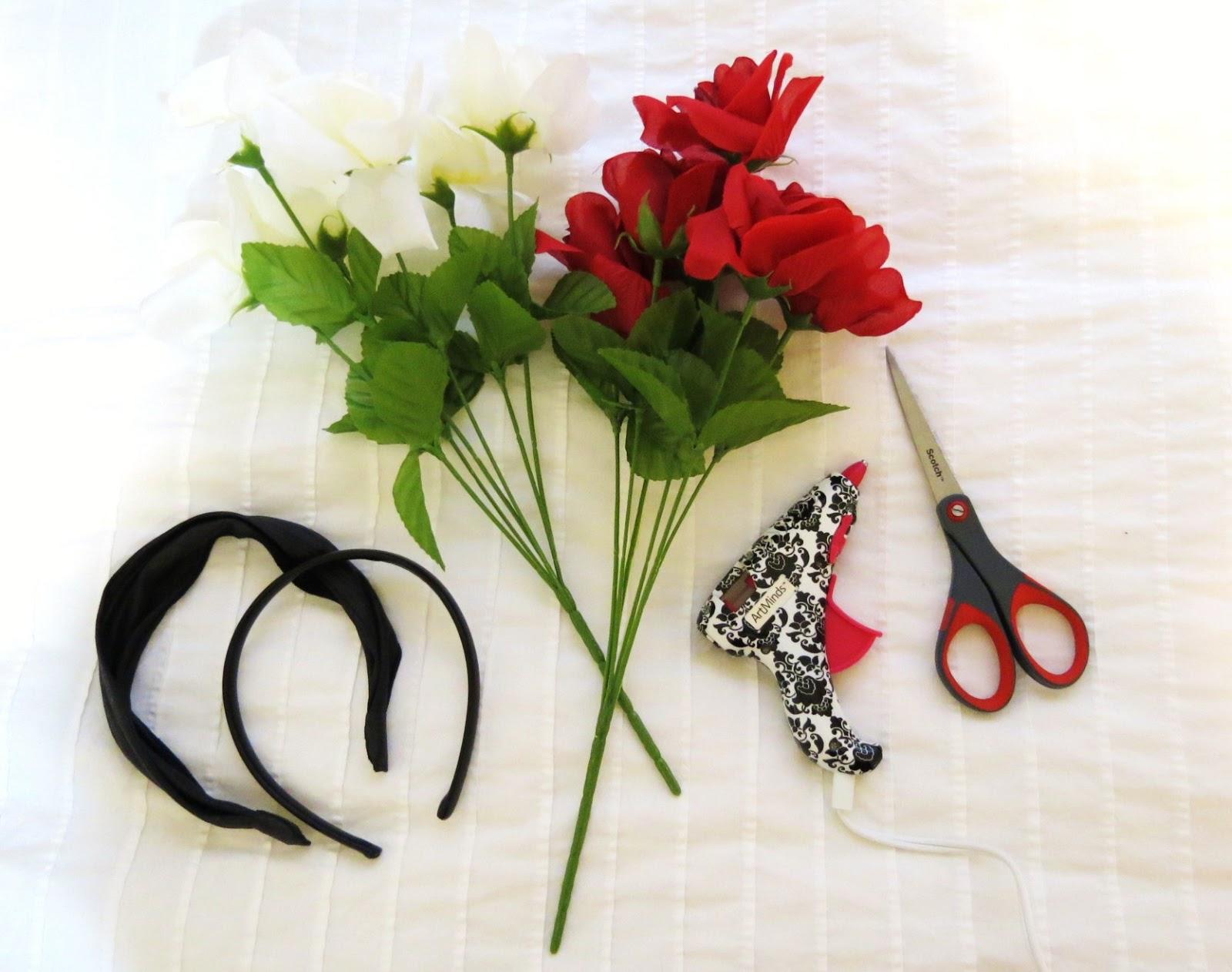 Kitchen garden diy flower crown materials fake flowers i got mine from the dollar store simple headband i used ones i already had laying around hot glue gun scissors izmirmasajfo