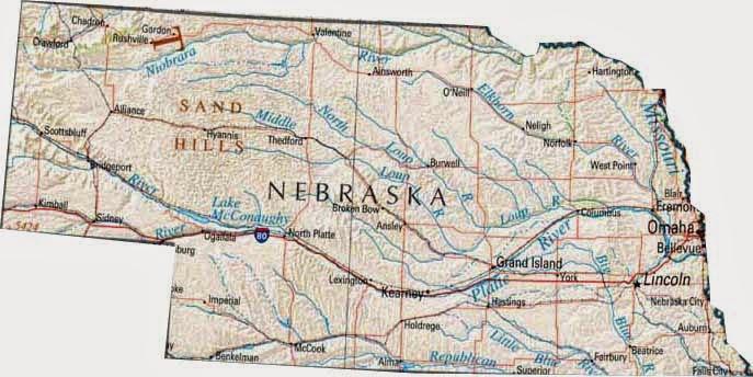 Nebraska printable US state maps free.