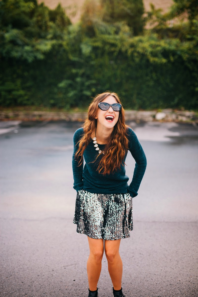 glitter skirt, sequin skirt, sparkly skirt, fall fashion, sam edelman booties, loft sweater, turquoise, fall fashion, fall style 2014