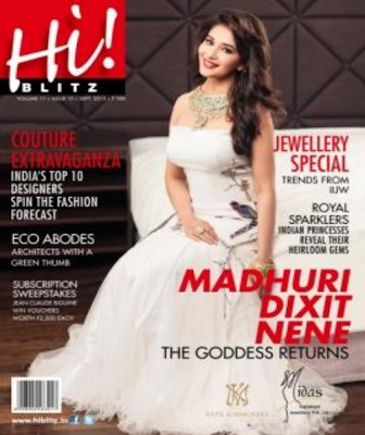 Evergreen diva Madhuri Dixit on the cover page of Hi! BLITZ