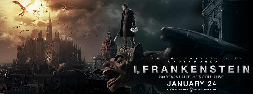 Capa Frankenstein   Entre Anjos e Demônios Dublado Torrent AVI Legendado 2014 I Frankenstein 2014 Movie Banner Poster