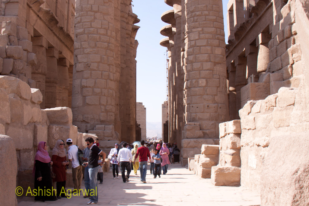 Local and foreign tourists inside the magnificent Karnak temple in Luxor