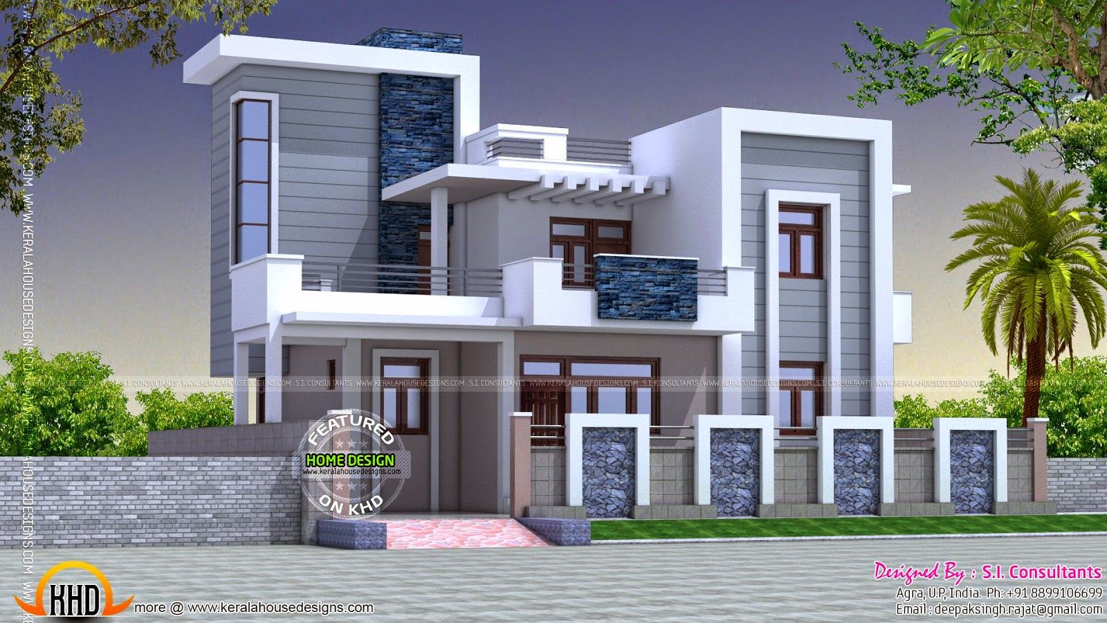 Contemporary style beautiful home kerala home design for Home and land design