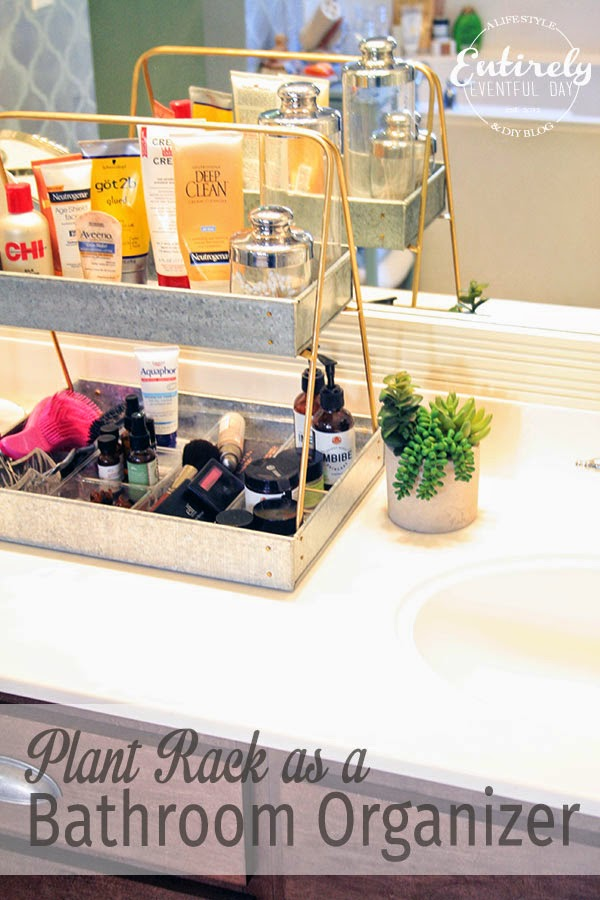 LOVE this bathroom organizing idea. It's actually a plant rack!