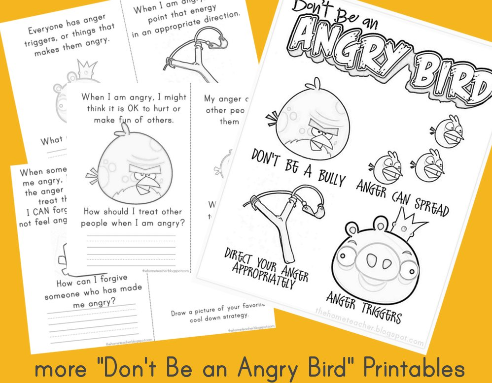 More Dont Be An Angry Bird Printables The Home Teacher – Anger Management Worksheets for Kids