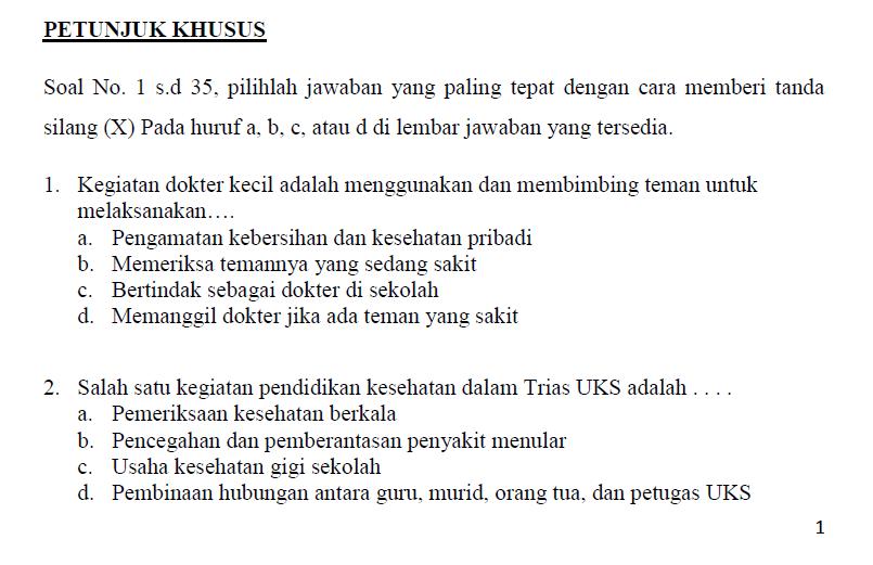Download Soal Lomba Dokter Kecil Sekolah Dasar Kumpulan Makalah Lengkap