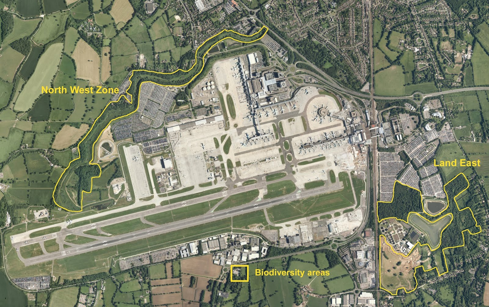 Map of Gatwick's green-zones