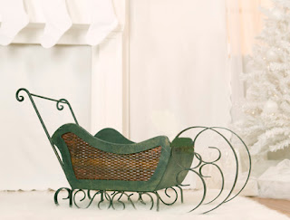 Green wood and wicker sleigh - Mikkean Photography prop