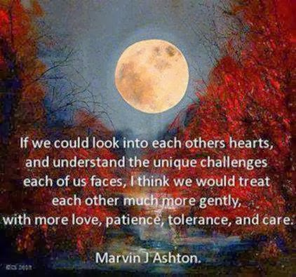 If we could look into each others hearts, and understand ...