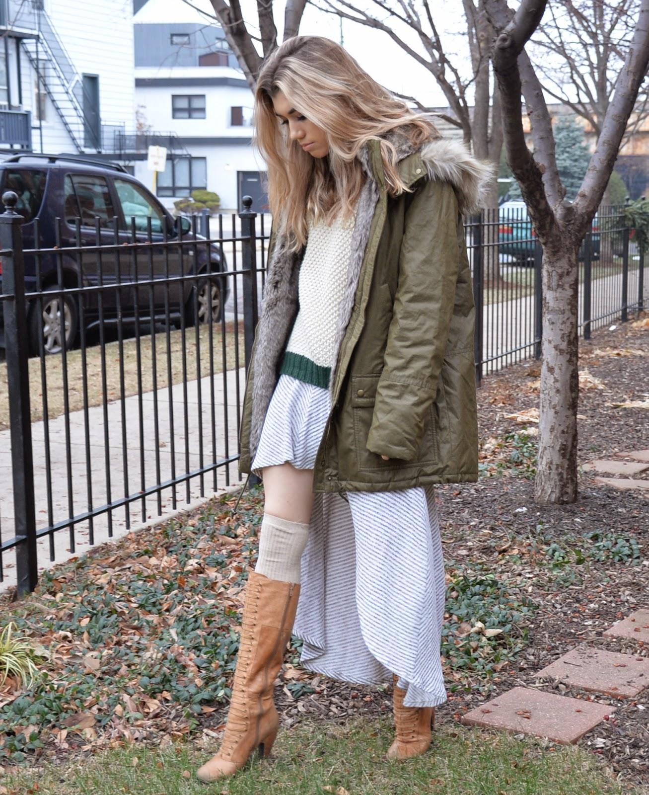 fall winter coat skirt green neutral city boots