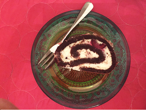 Slice of Gluten Free Black Forest Roulade