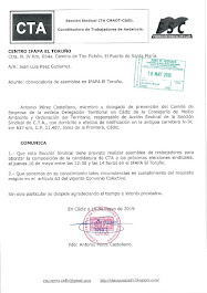 Comunicamos al Director del IFAPA El Toruño la convocatoria de asamblea el jueves 16 de mayo entre