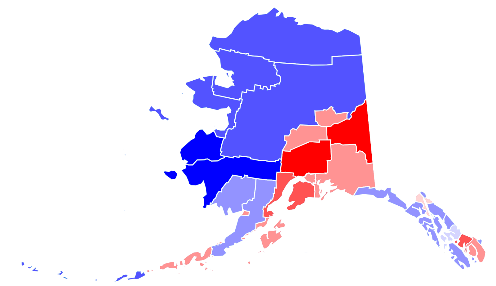 2012 presidential election in alaska results by borough and margin i would ve labeled the boroughs and such but it s really a pain to figure out how the