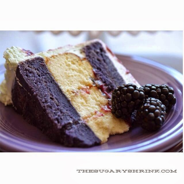 Blackberry Cake and a Lime Cheese Cake Layer with Lime Marmalade and ...