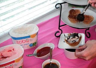 Strawberry Sauce, Caramel Sauce, Hot Fudge Sauce, TCBY Frozen Yogurt, Toppings