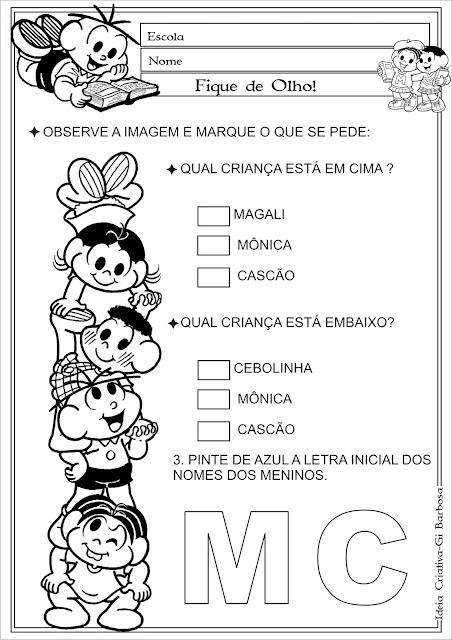 Plano de Aula Atividade Interdisciplinar Turma da Mônica/ Conceitos e Letra Inicial