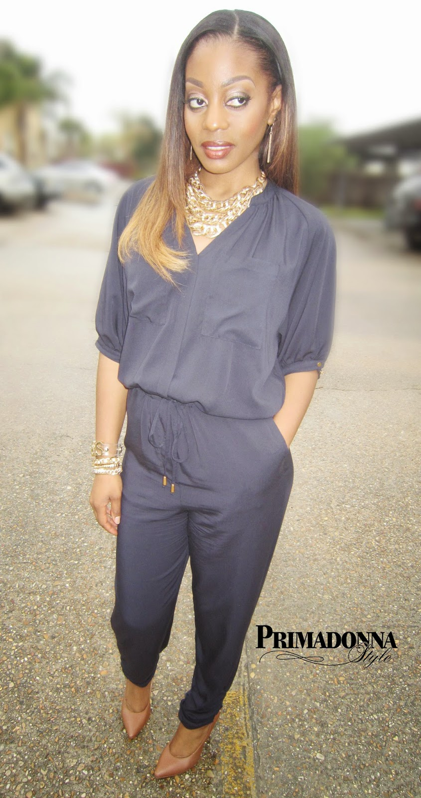 H&M The New Icons Jumpsuit  Textured Links Bib Necklace Boss Jelly Affirmation Bracelet Capsule by Cara Bracelet Zigi Soho Landing Heels