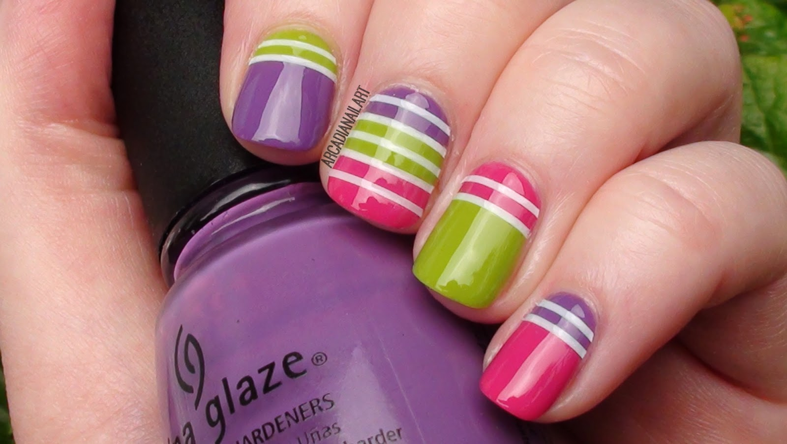 Fun Colorful Nails Using Striping Tape