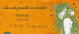 entrada de concierto de burning