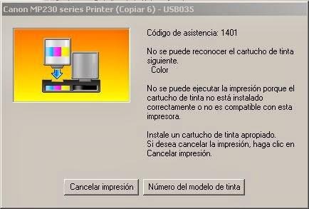 código de asistencia: 1401 en impresoras Canon
