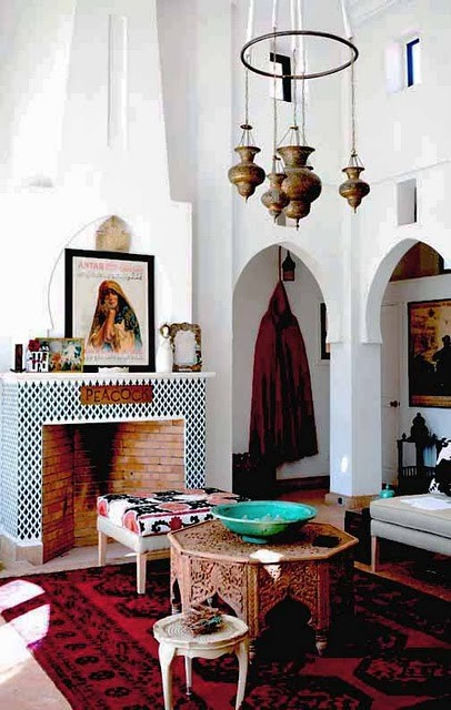 Lanterns, carved headboards, pops of color, and more tribal rugs and ...