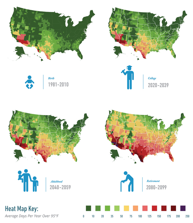 These maps show how many brutally hot days you will suffer when you're old