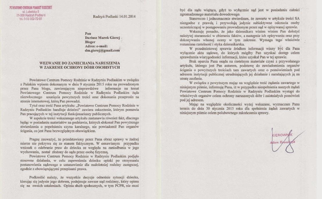Urzędnik Powiatowego Centrum Pomocy Rodziny  z Radzynia Podlaskiego  zastrasza blogera