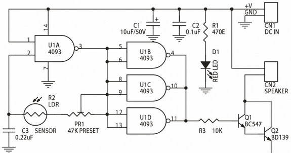 circuit schematic light sensitive audio oscillator based