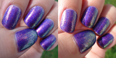 Sunlight vs. Natural Light Purple Rainbow Layering