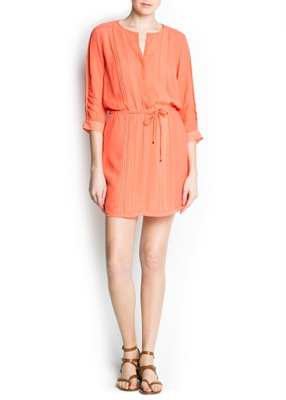 turuncu belden bağamalı elbise