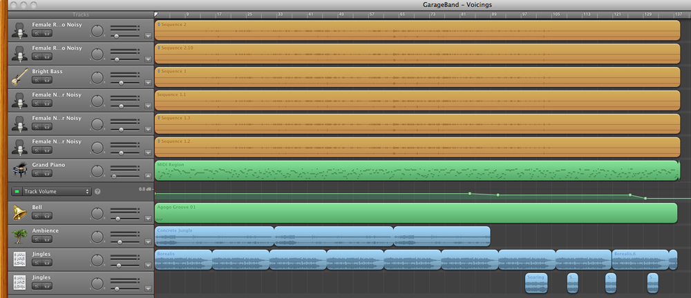 how to delete just the recorded track on garageband