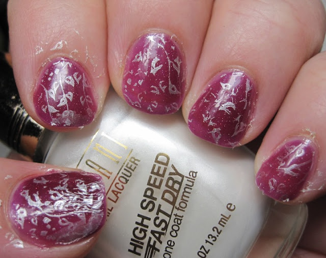 Lacquerhead Polish Plum Crazy stamped with Milani Pearl White