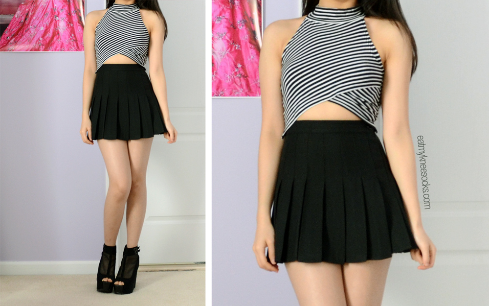 Full OOTD with the JollyChic asymmetric striped mock-neck crop top and the Sheinside American Apparel dupe tennis skirt in black!
