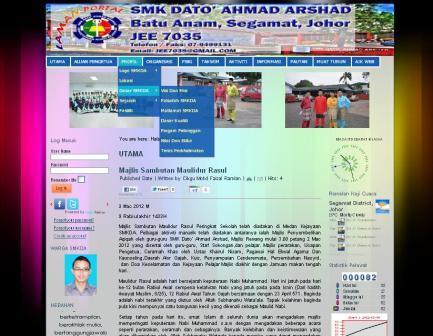 Laman Portal Rasmi SMKDAA yang baru (KLIK GAMBAR)