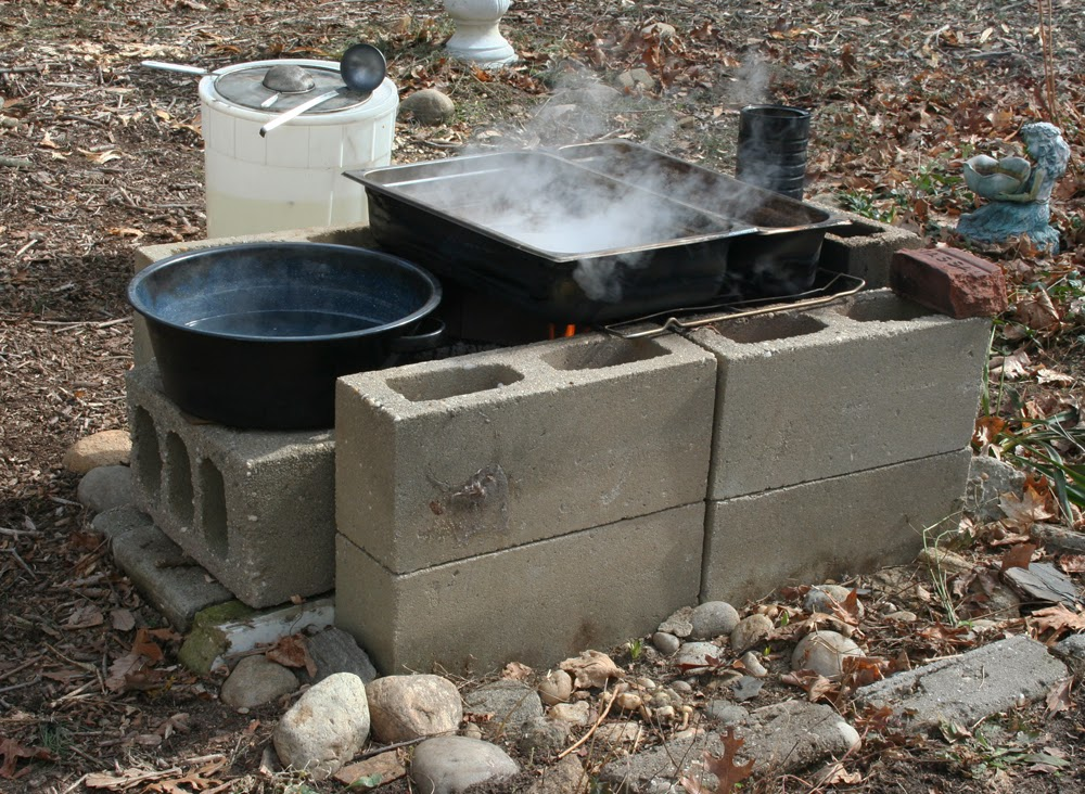 Backyard Cinder Block Maple Syrup Evaporator - The Homegrown String Band: Backyard Maple Sugaring - 2014