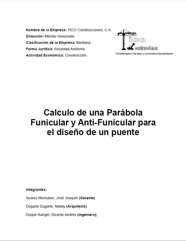Sistemasestructuralesii Calculo De Una Parabola Funicular