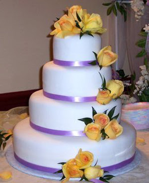 white and lavendar wedding cake