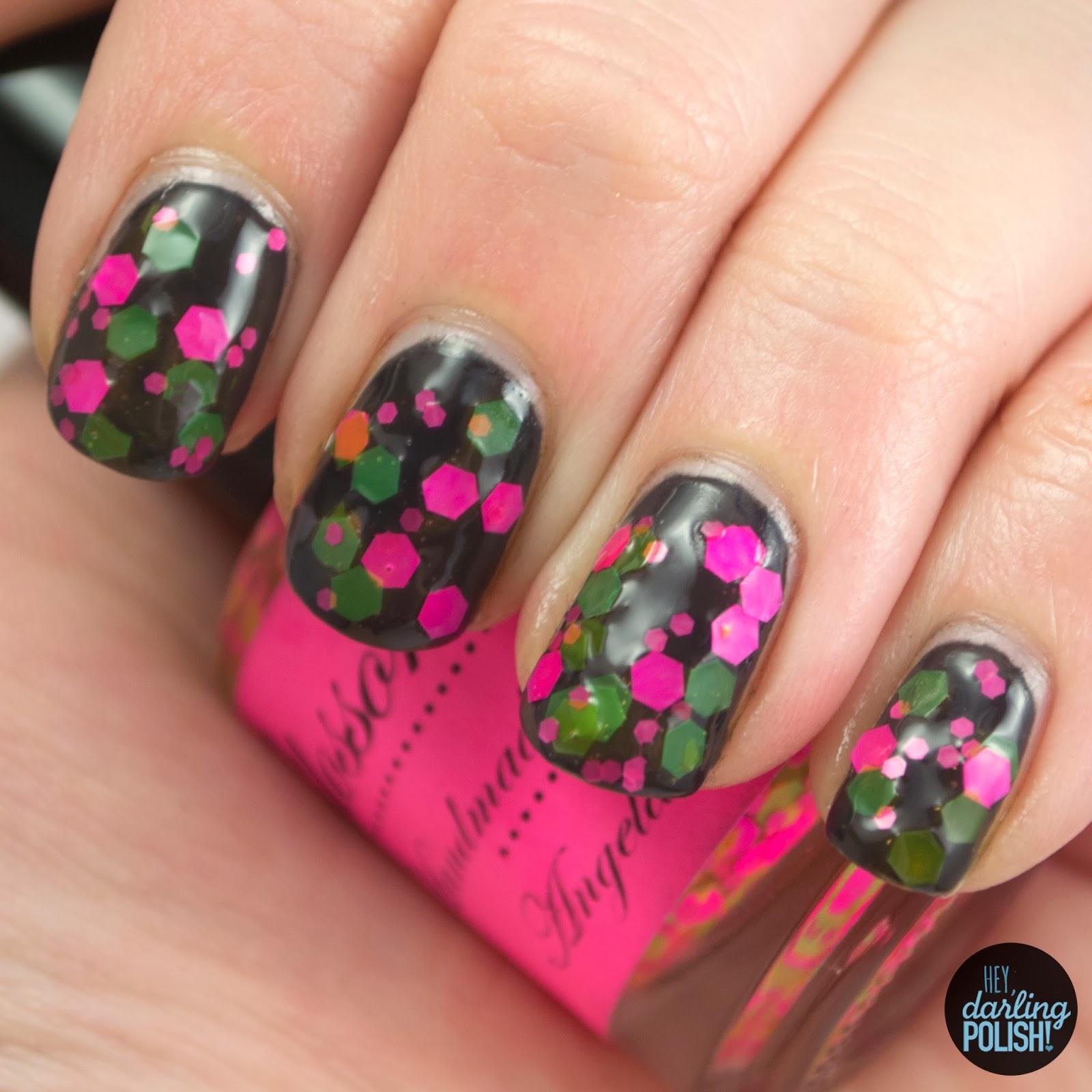glossome polish, indie, indie polish, indie nail polish, swatch, hey darling polish, i want it, black